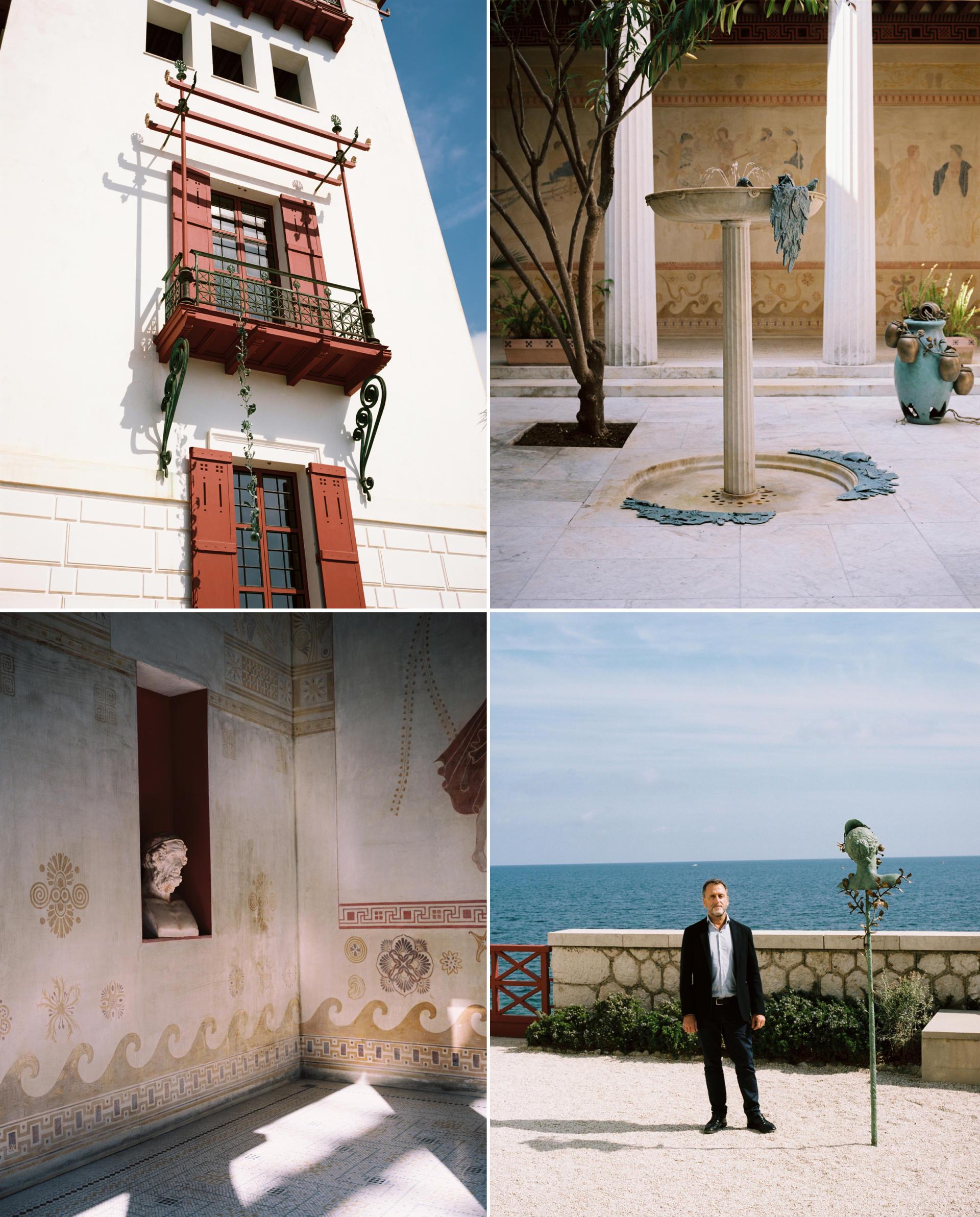 De gauche à droite et de haut en bas: la façade de la maison, le péristyle ceinturé par douze colonnes de marbre blanc de Carrare qui forme le plan d'une cour carrée, des fresques sur les murs du péristyle, illustrant des épisodes de la mythologie grecque, Hubert le Gall dans le jardin de la villa Kérylos.