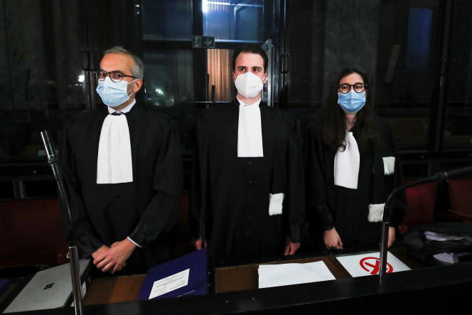 AstraZeneca's lawyers, Clemens von Muilder and Hakeem Pallarba, appear in Brussels court on May 26, 2021.