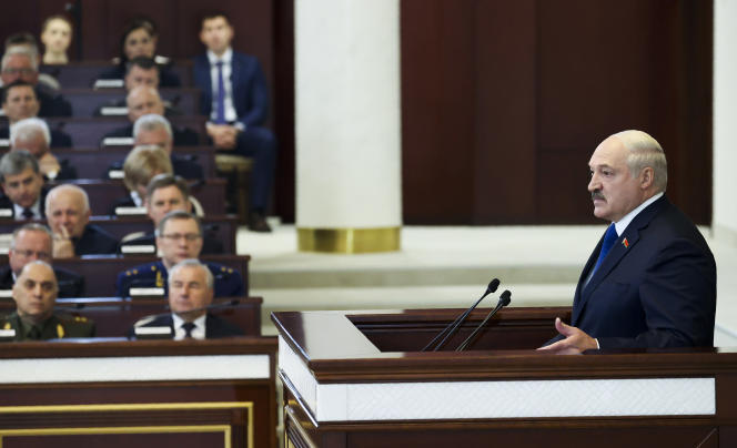 Belarusian President Alexander Lukachenko addressed his country's parliament on May 26, 2021.