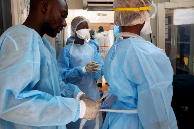 Des personnels de santé à Juba, le 24avril 2020, au début de l'épidémie de Covid-19.