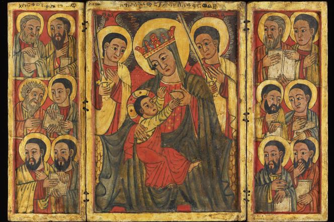 La Vierge nourrissant Jésus, icône orthodoxe d'Ethiopie, peinture sur bois, XVe siècle.