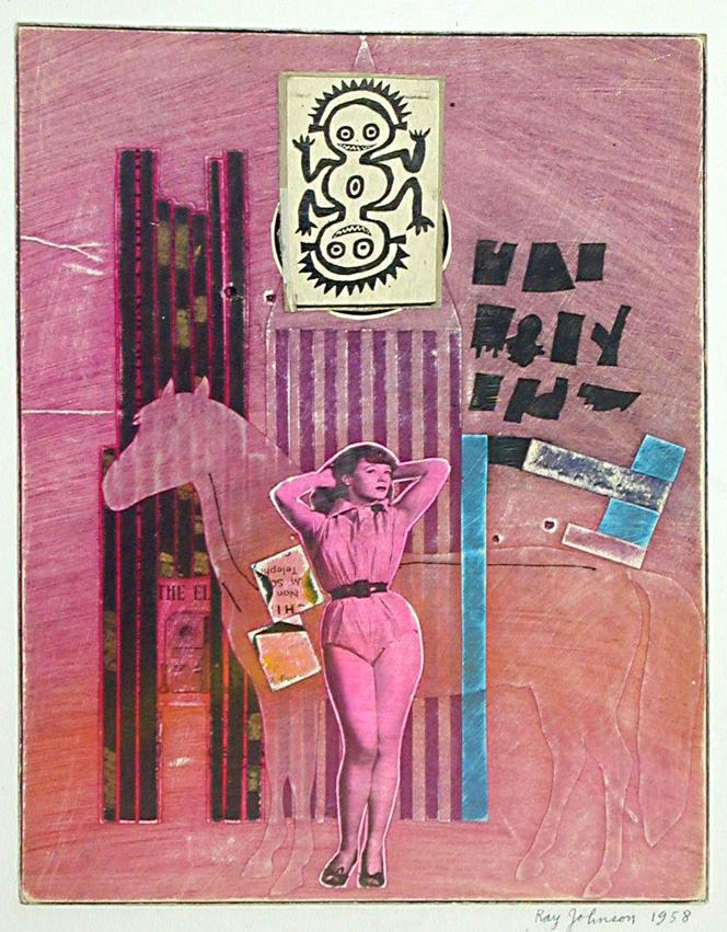 Ray Johnson : «Star de cinéma et cheval [Movie Star with Horse]» (1958), collage sur papier‒ Collection Frances Beatty and Allen Adler,New York, Etats-Unis.