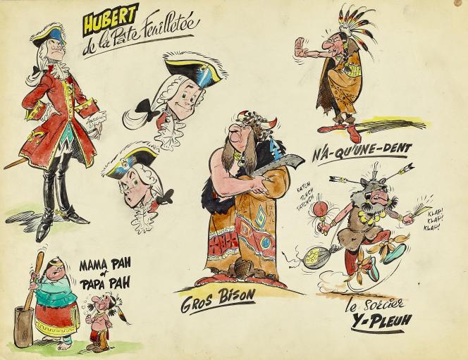 «Oumpah-Pah», recherche de personnages, 1958.