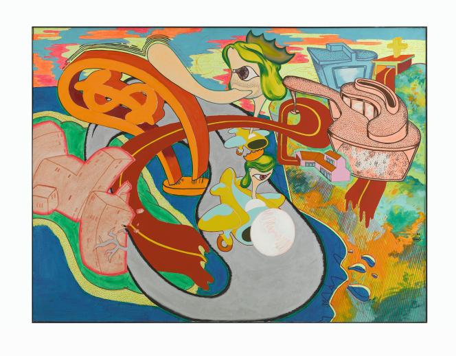 Peter Saul : «San Francisco n° 2» (1966), huile fluorescente sur toile‒ Musée d'art contemporain (MAC), Marseille, France.