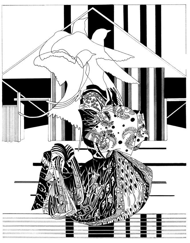 « Illusion of you #4 », 2020, de Chourouk Hriech, encre de chine sur papier Arches, exposé à la galerie Anne-Sarah Bénichou.