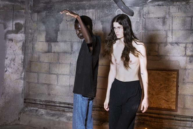 Marius Courcoul et Eliza Douglas, en répétition pour «Natures Mortes», d'Anne Imhof, en 2021.