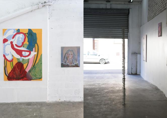 L'espace d'exposition de La Volonté 93, à Saint-Ouen, avec de gauche à droite des toiles de Mario Picardo et de Sequoia Scavullo, et une sculpture d'Alexander Raczka.