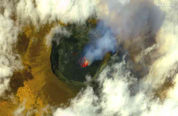 Una imagen de satélite muestra el volcán Nyiragongo antes de la erupción del 20 de mayo.