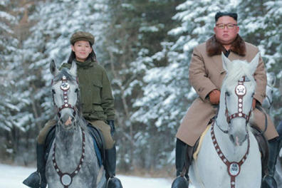 October 16, 2019, Mount Paektu, North Korea: KIM JONG UN on a horse rides on Mount Paektu in a photo released from the Korean Central News Agency on October 16, 2019. Kim is accompanied by senior party officials, including his sister, KIM YO-JONG (L) and JO YONG-WON. (Credit Image: © Korean Central News Agency via ZUMA Wire)
