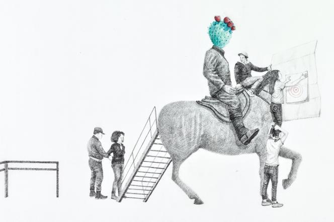« Prélude de l'élan visible #2 », 2020, de Massinissa Selmani, graphie et crayons de couleur sur papier, exposé à la galerie Anne-Sarah Bénichou.