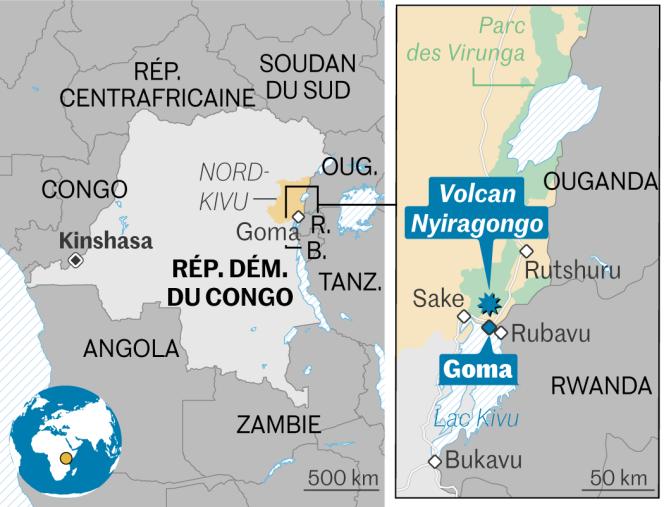 Χάρτης κατάστασης του ηφαιστείου Nyiragongo στη Λαϊκή Δημοκρατία του Κονγκό.