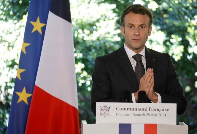 President Emmanuel Macron during an address at the residence of the French Ambassador to South Africa, in Pretoria, on May 29.