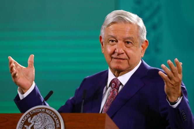 El presidente mexicano, Andrés Manuel López Obrador, en una conferencia de prensa en el Palacio Nacional en la Ciudad de México el 31 de mayo de 2021.
