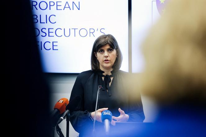 Laura Codruta Kövesi, procureure européenne en chef, lors d'une conférence de presse au siège du Parquet européen, à Luxembourg, le 1er juin 2021.