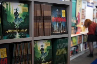 Comic books are displayed at the Paris Book Fair 2019 (salon du livre) at the Parc des Expositions in Paris on March 18, 2019 in Paris.