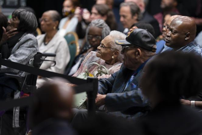 La doyenne des survivants du massacre de Tulsa (Oklahoma), Viola Ford Fletcher, assiste au discours de Joe Biden, à l'occasion des 100ans de la tragédie, le 1erjuin2021.