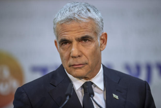 Israeli opposition leader Yair Lapidet at a press conference in Tel Aviv (Israel) in May 2021.