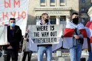Manifestation à Minsk, capitale de la Biélorussie.