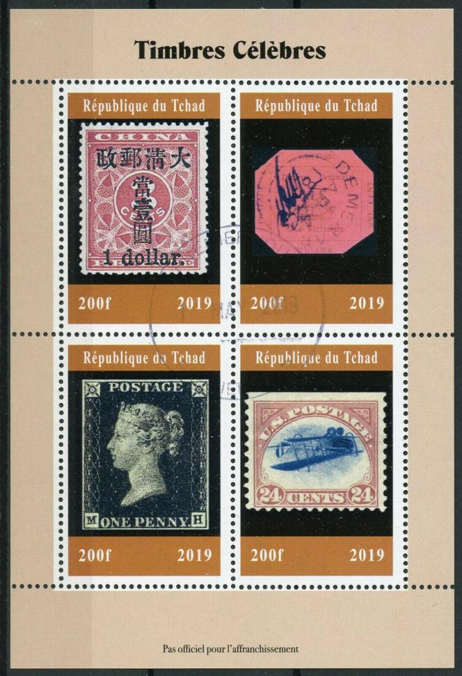 Timbres sur timbres du Tchad, avec le one cent magenta de Guyane britannique (1856) et le« Inverted Jenny» des Etats-Unis (1918).