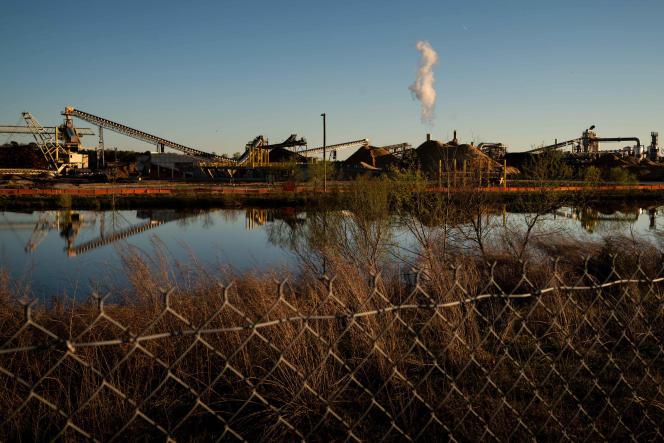 Une usine de fabrication de pellets de bois à Franklin (Virginie), aux Etats-Unis, le 29 mars 2021.