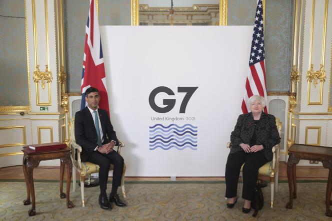 Le ministre des finances britannique, Rishi Sunak, rencontre la secrétaire américaine au Trésor,Janet Yellen, à Londres, jeudi 3 juin 2021,pour une réunion bilatérale avant la réunion des ministres des finances du G7 le lendemain.