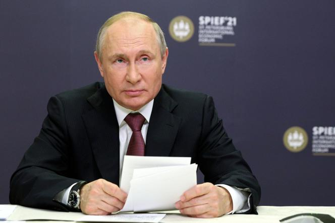 Russian President Vladimir Putin attended the St. Petersburg International Economic Forum via video conference on Thursday, June 3, 2021 at his home in Novo-Okaryovo, near Moscow (Russia).