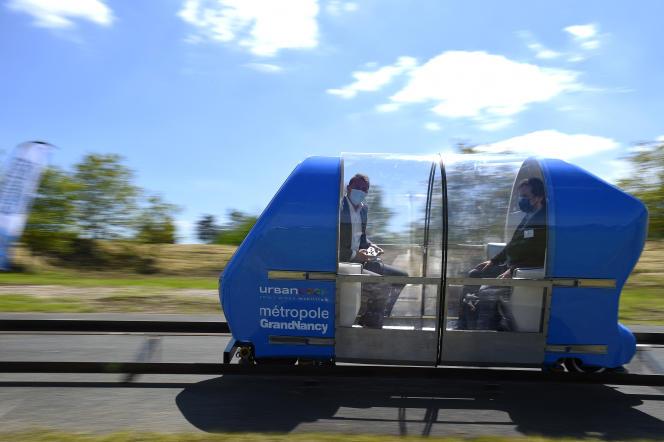 Une capsule Urbanloop, à Tomblaine (Meurthe-et-Moselle), le 28 mai 2021.
