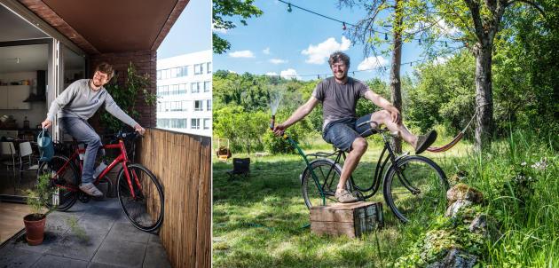 Christian Jennewein et sa compagne ont opté pour la birésidentialité. A gauche: sur le balcon de leur appartement en location à Pantin, en région parisienne. A droite: dans le jardin de leur maison à Mailly-le-Château dans l'Yonne.