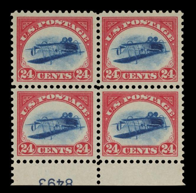 Bloc de quatre de l'« Inverted Jenny», de 1918, estimé 5 à 7 millions de dollars.