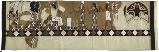 Calque reproduisant une des fresques de la chapelle 132 sur le site antique de Mari (Syrie). Assis sur un trône en pleine montagne, Sin, le dieu de la Lune, reçoit les hommages de deux personnages de sang royal (avec bonnet blanc sur la tête).