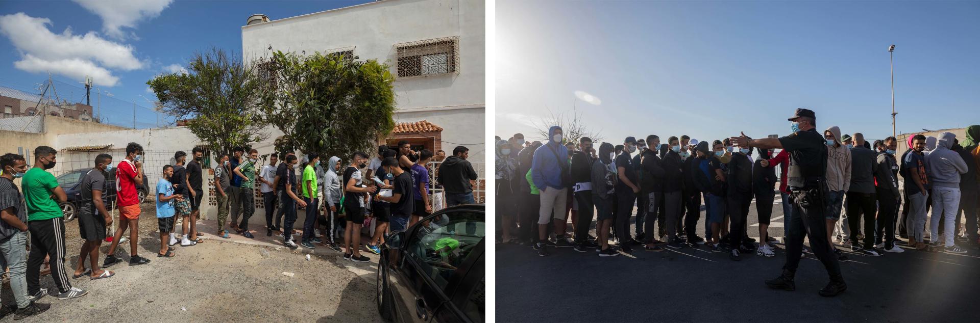 Des migrants, pour la plupart marocains, font la queue à la frontière pour recevoir de la nourriture chez la bénévole Sabah Hamed (à gauche), et pour obtenir un rendez-vous au bureau d'asile (à droite). Ceuta, le 2 juin 2021.