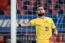 Italy's goalkeeper Gianluigi Donnarumma reacts on June 04, 2021 during the international friendly football match between Italy and the Czech Republic at the Renato-Dall'Ara stadium in Bologna, in preperation for the UEFA European Championships. / AFP / Filippo MONTEFORTE
