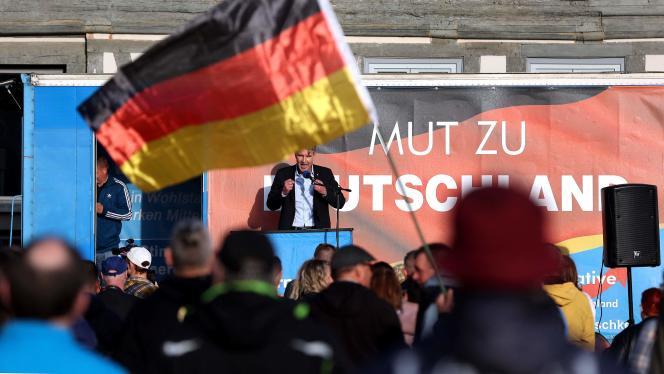 Björn Höcke, représentant de l'aile radicale du parti d'extrême droite AfD, à Haldensleben (Saxe-Anhalt), le 28 mai.