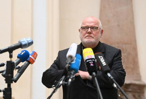 """Cardinal Reinhard Marx, Archbishop of Munich and Freising, looks on as he addresses a press conference in Munich, southern Germany, on June 4, 2021, after he had offered Pope Francis his resignation over the church's """"institutional and systemic failure"""" in its handling of child sex abuse scandals. """"It is important to me to share the responsibility for the catastrophe of the sexual abuse by Church officials over the past decades,"""" said Marx in a letter to the pope dated May 21, 2021 and published on June 4 by his archdiocese in Munich. / AFP / LENNART PREISS"""