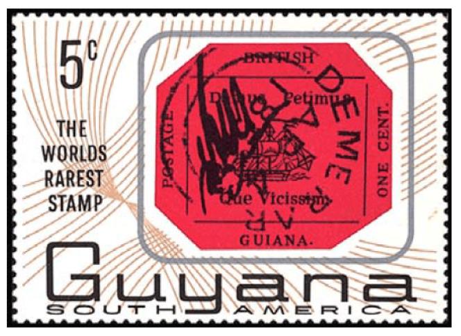 Timbre sur timbre du Guyana paru en 1966, avec, reproduite, une reconstitution«lisible» du one cent magenta du Guyana britannique.