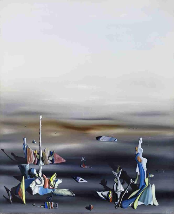 Yves Tanguy : «Les Cinq Etrangers [The Five Strangers] » (1941), huile sur toile‒Wadsworth Atheneum Museum of Art, Hartford (Connecticut), Etats-Unis.