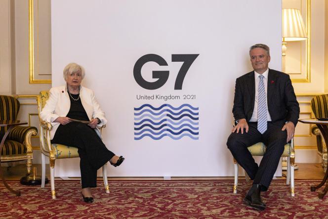 La secrétaire américaine au Trésor, Janet Yellen, et le secrétaire général de l'Organisation de coopération et de développement économiques (OCDE), Mathias Cormann, lors du G7 finances, à Londres, le 5 juin 2021.