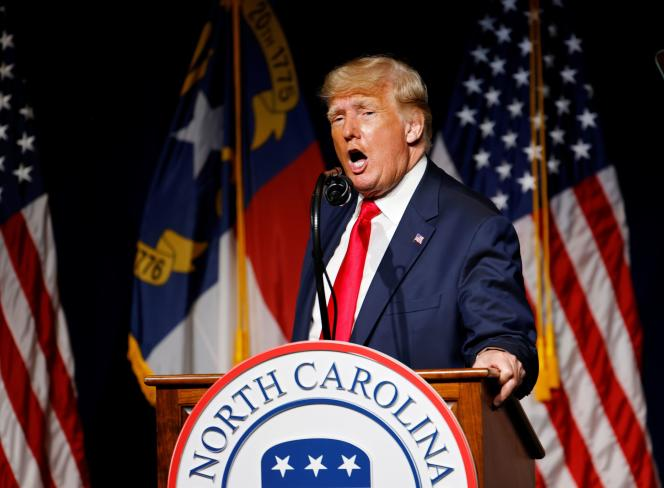 Former US President Donald Trump addresses the North Carolina Republican convention on June 5, 2021 in Greenville.
