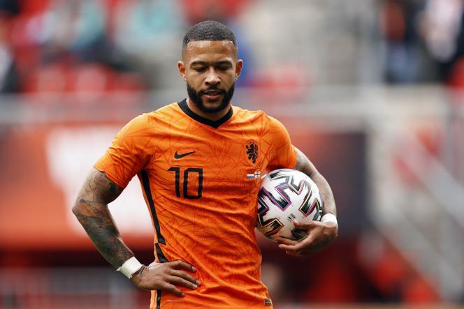 L'attaquant des Pays-Bas Memphis Depay lors d'un match amical contre la Géorgie, le 6 juin 2021, à Enschede (Pays-Bas).