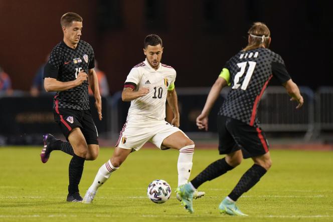 Eden Hazard lors du match amical de la Belgique contre la Croatie,le 6 juin 2021, à Bruxelles.