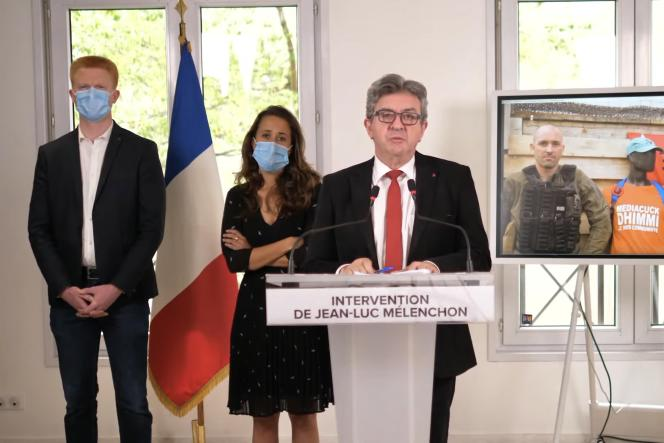Saisie d'écran de l'allocution mise en ligne par le candidat à la présidentielle Jean Luc Mélenchon le 7 juin.