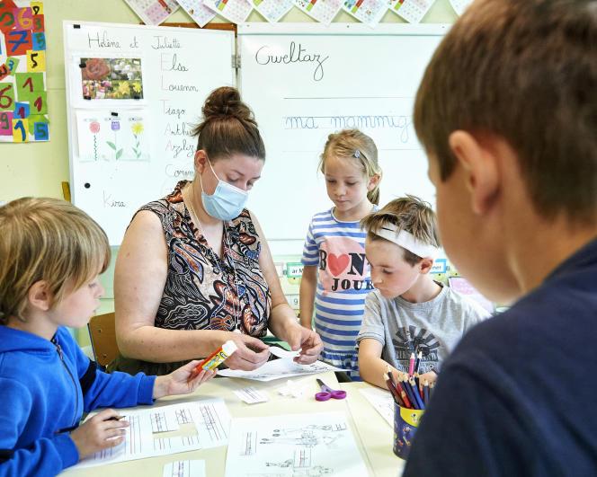 Enseignement en breton dans une classe de grande section de maternelle, dans l'écoleDiwan de Rennes, le 1er juin 2021.