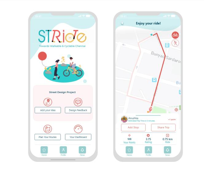 The «Stride» application that provides volunteers with information about their journeys and retrieves their data to integrate it into a map of the city.