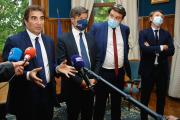 De gauche à droite, Christian Jacob, Nicolas Florian, Guillaume Guerin et Francois Baroin, à Panazol, le 4 juin.