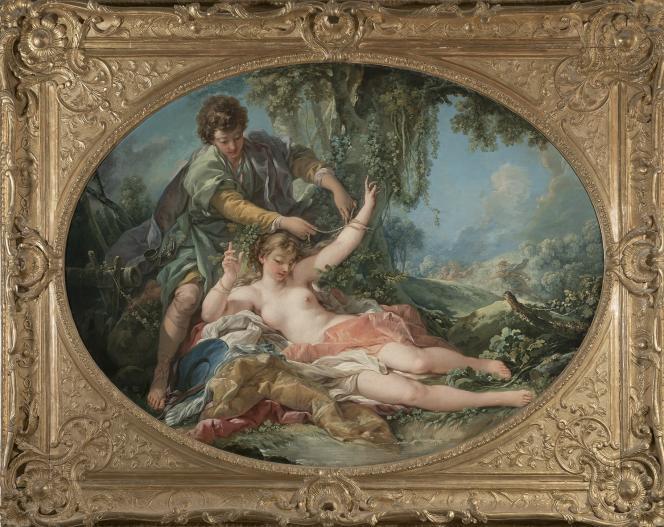 François Boucher :«Sylvie délivrée par Aminte» (1755), huile sur toile–Banque de France, Paris (France).