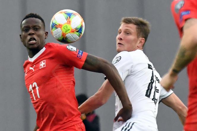 Le Suisse Denis Zakaria lors d'un match contre la Géorgie, le 23mars 2019.
