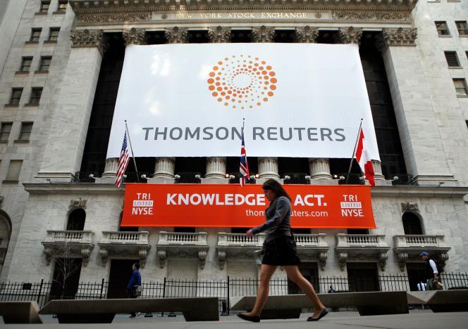 La Bolsa de Valores de Nueva York, cuando el grupo Thomson Reuters salió a bolsa el 17 de abril de 2008.