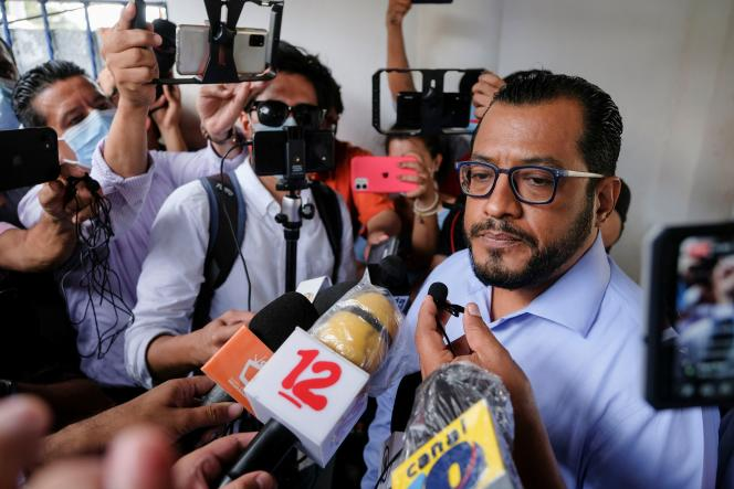 Felix Maradiaga speaks to the media, just after being arrested by the authorities, in Managua on June 8, 2021.