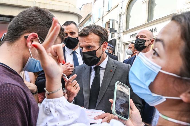 Emmanuel Macron en visite à Valence, dans la Drôme, le 8 juin 2021.