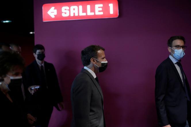 Emmanuel Macron at CinéMazarin in Nevers (Nièvre), May 21, 2021.